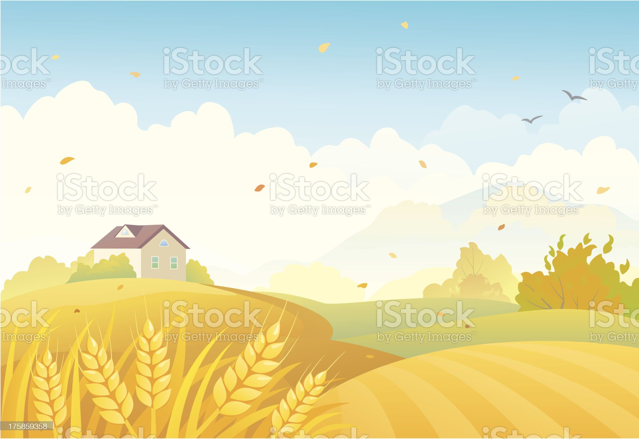 Fall fields royalty-free stock vector art