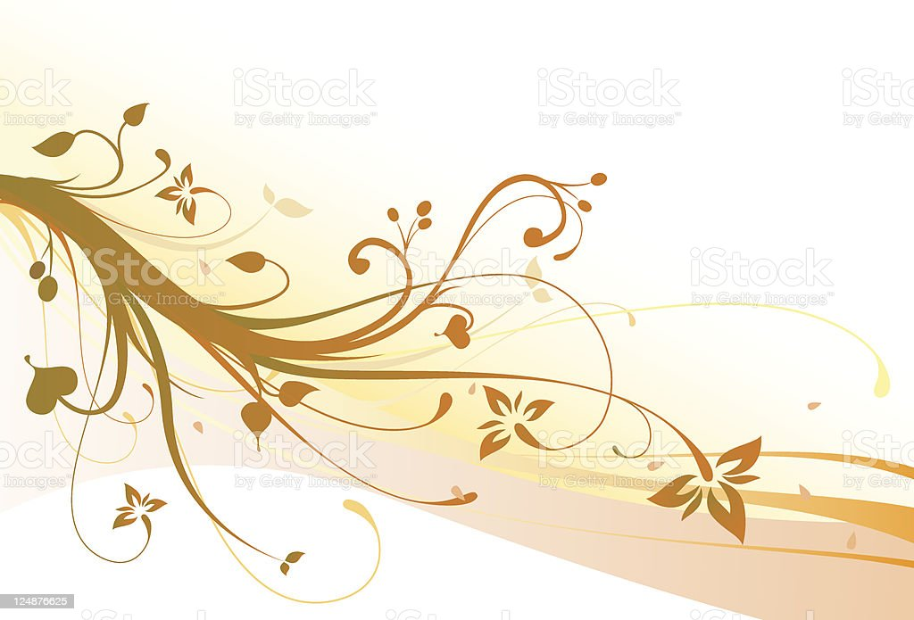 Fall Flowers Brown Vector Floral Ornament Background royalty-free stock vector art