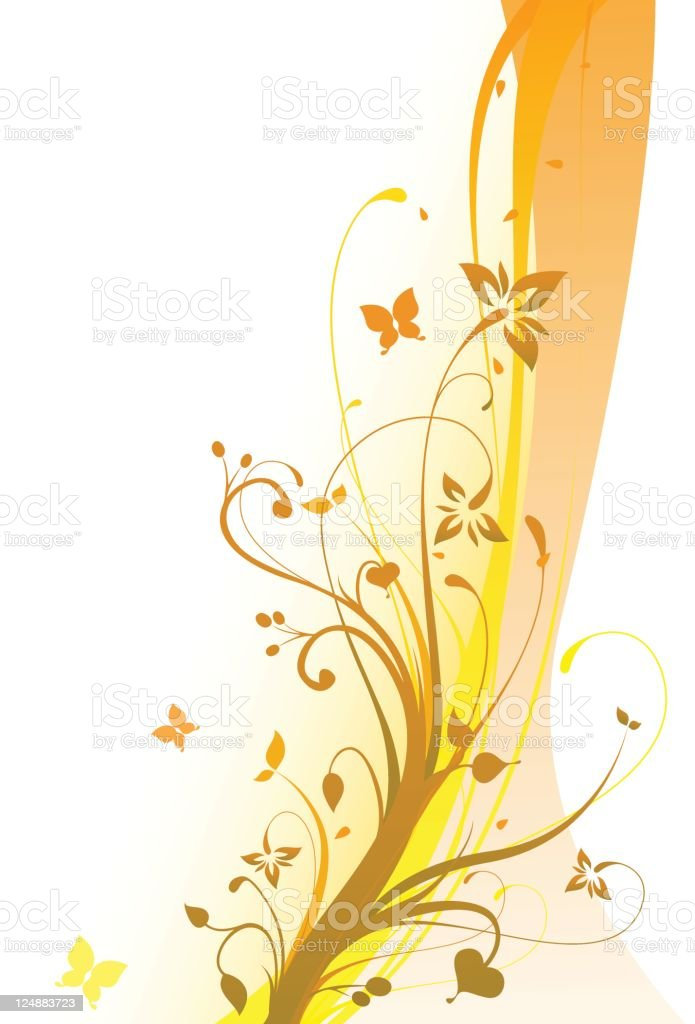 Fall Flowers Vector Floral Ornament Colorful Background vector art illustration