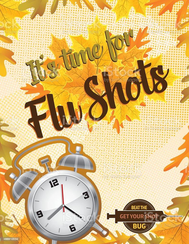 Fall Flu or Influenza Shot Poster Template vector art illustration