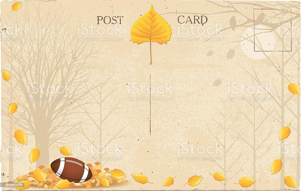 Fall Football in Park Postcard royalty-free stock vector art