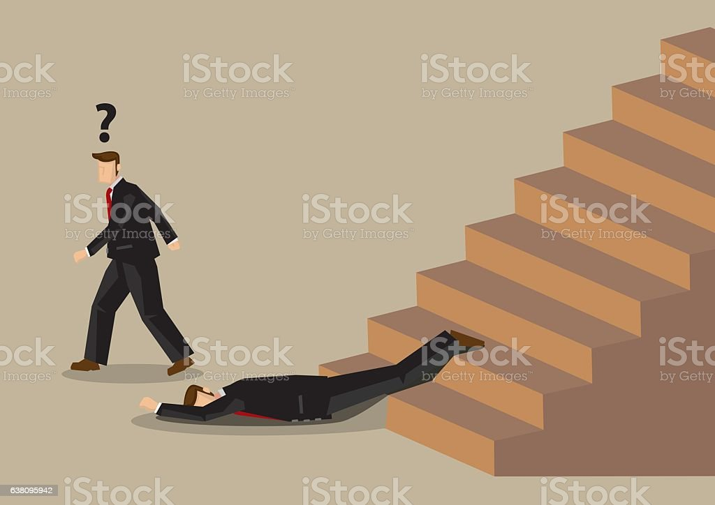 Fall from Stairs Accident at Office Workplace Cartoon Vector Ill vector art illustration