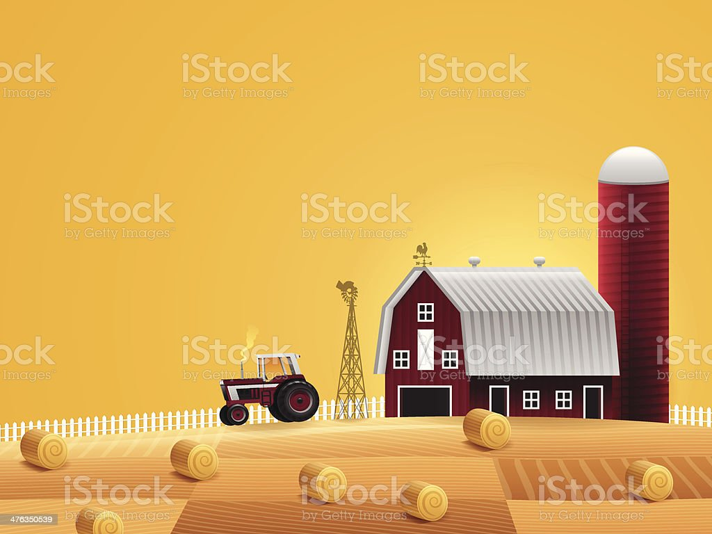 Fall Harvest Farm vector art illustration