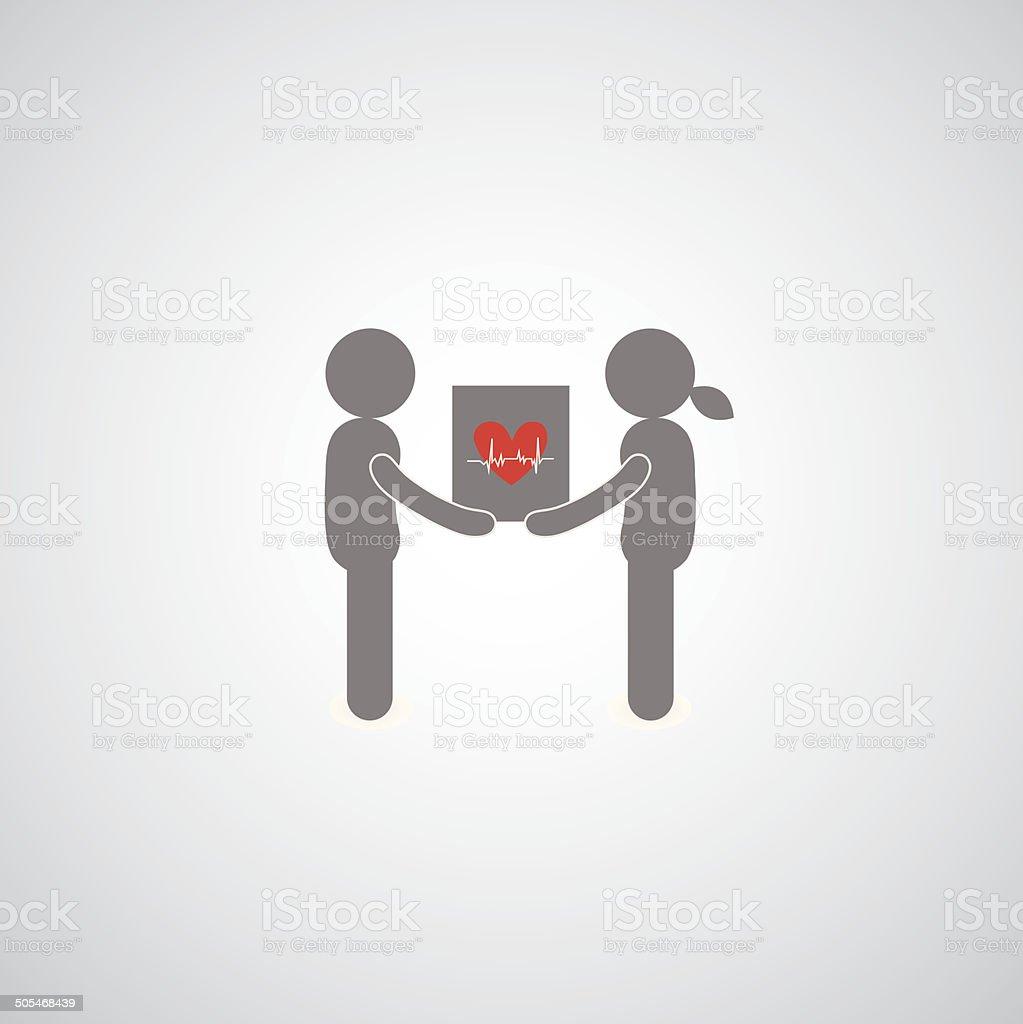 fall in love symbol vector art illustration