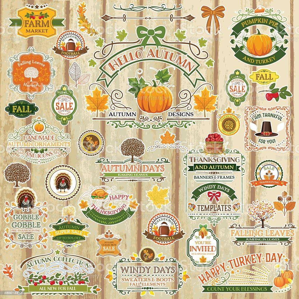 Fall Labels And Ornaments - Decorative elemnts vector art illustration