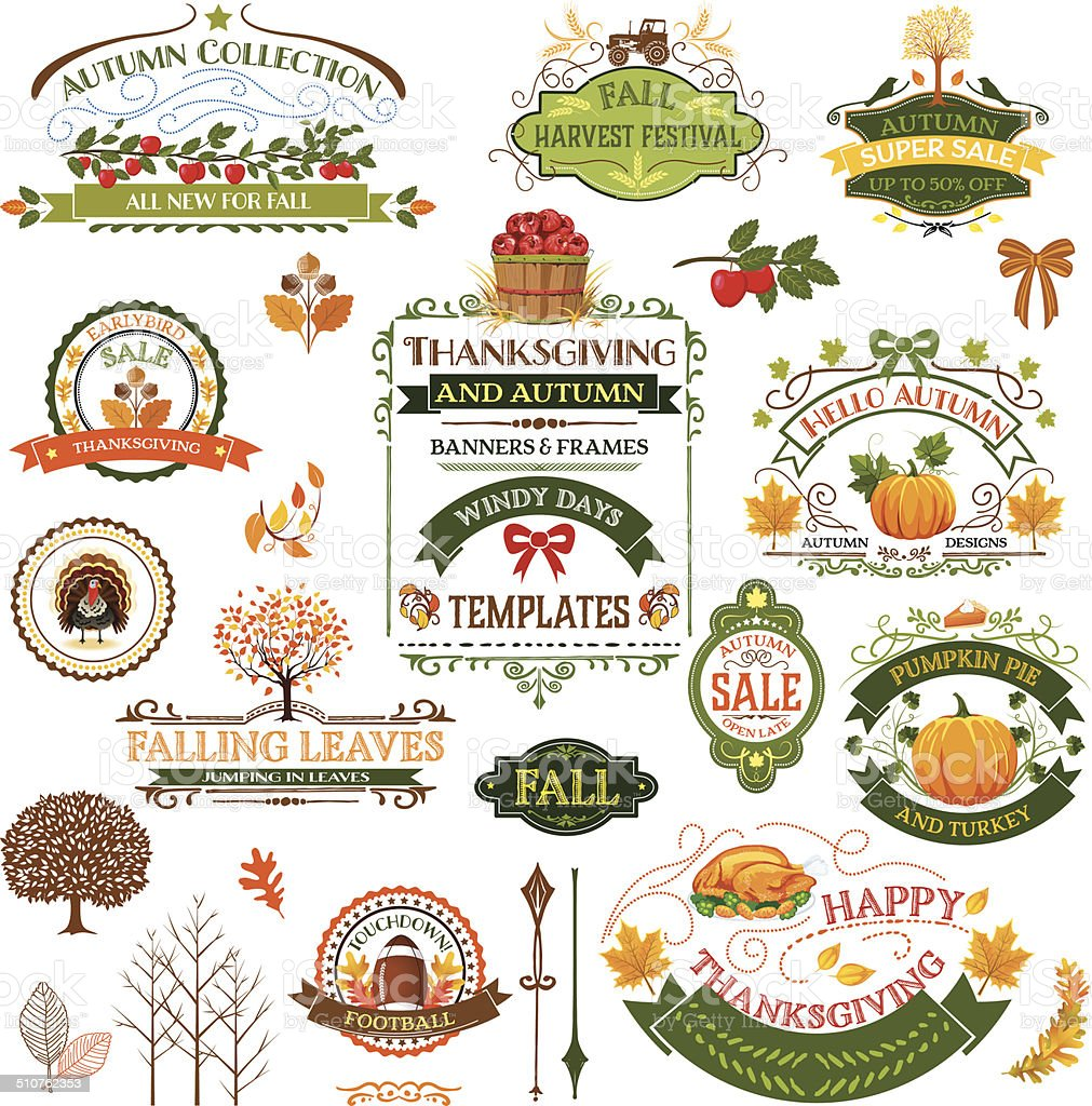Fall Labels And Ornaments vector art illustration