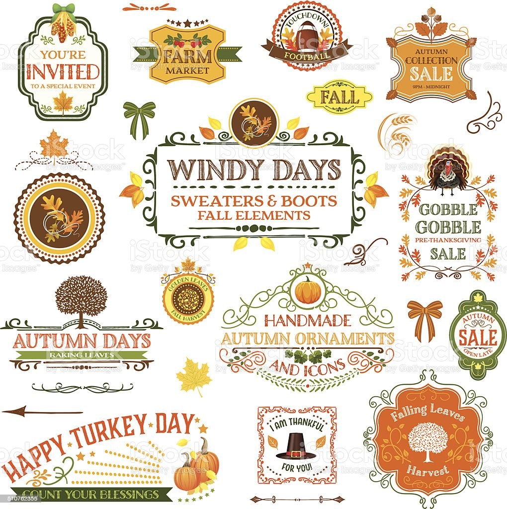 Fall Labels And Ornaments vector art illustration