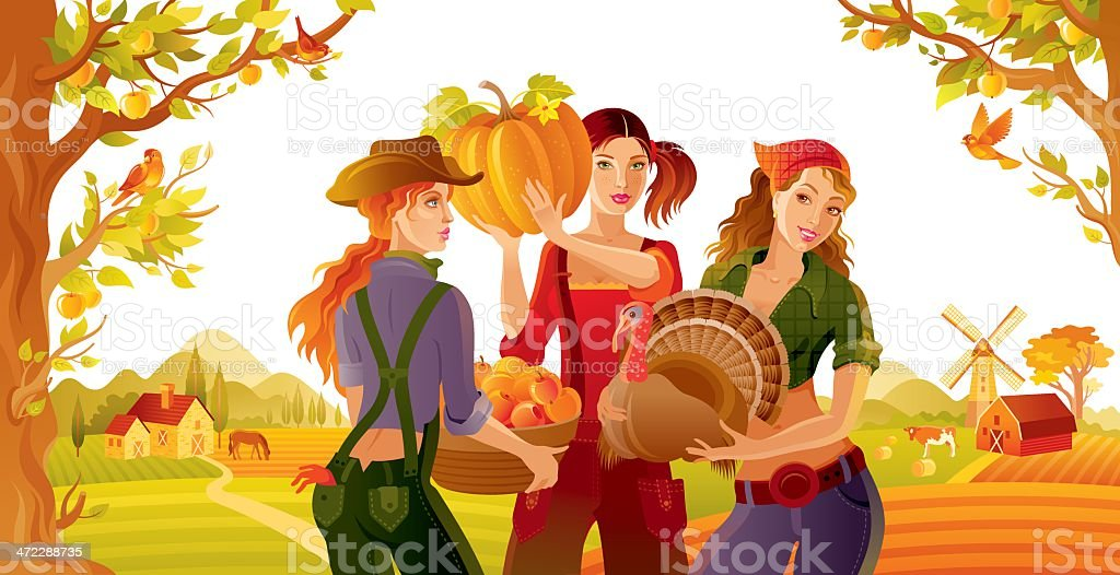 Fall landscape with farmers girls royalty-free stock vector art