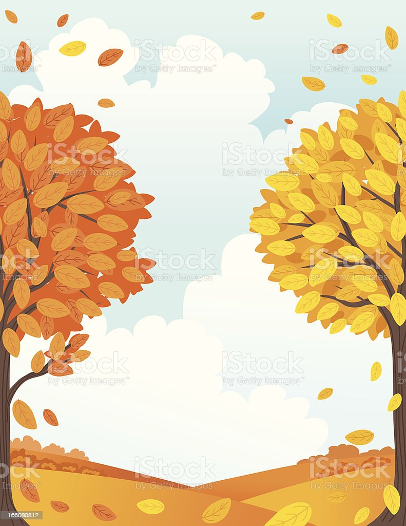 Fall Landscape With Trees And Copy Space Illustration vector art illustration