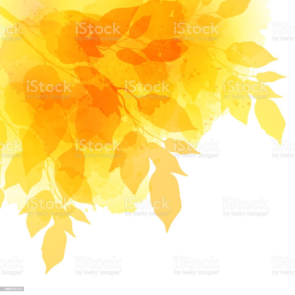 Fall leafs watercolor vector background vector art illustration