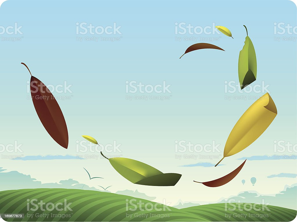 Fall Leaves Blowing in Air vector art illustration