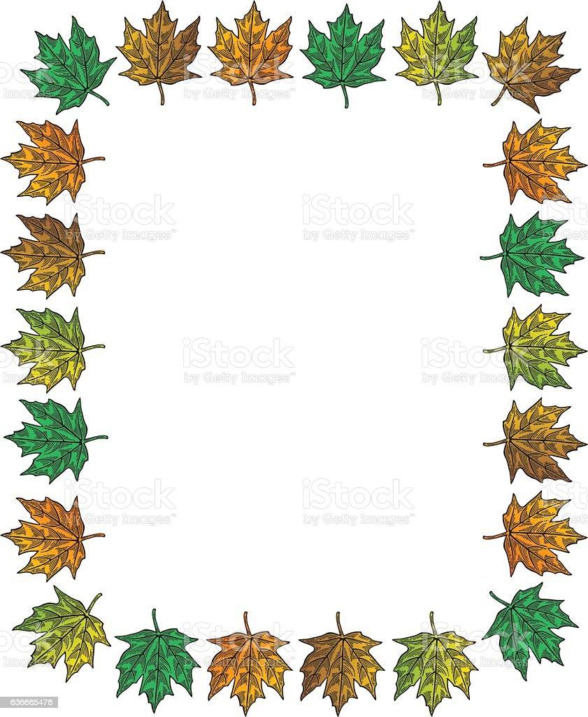 Fall Leaves Frame vector art illustration