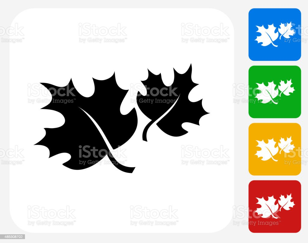 Fall Maple Leaves Icon Flat Graphic Design vector art illustration