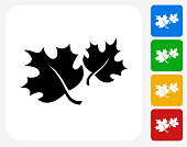 Fall Maple Leaves Icon Flat Graphic Design