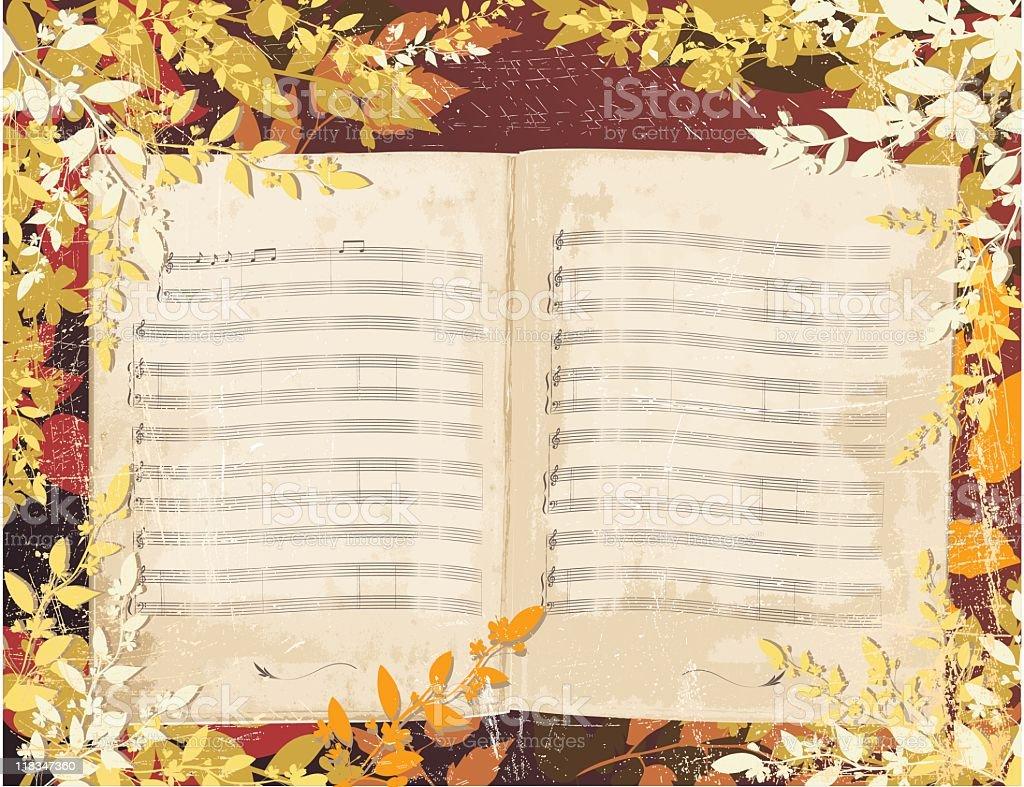 fall Music Book Background vector art illustration