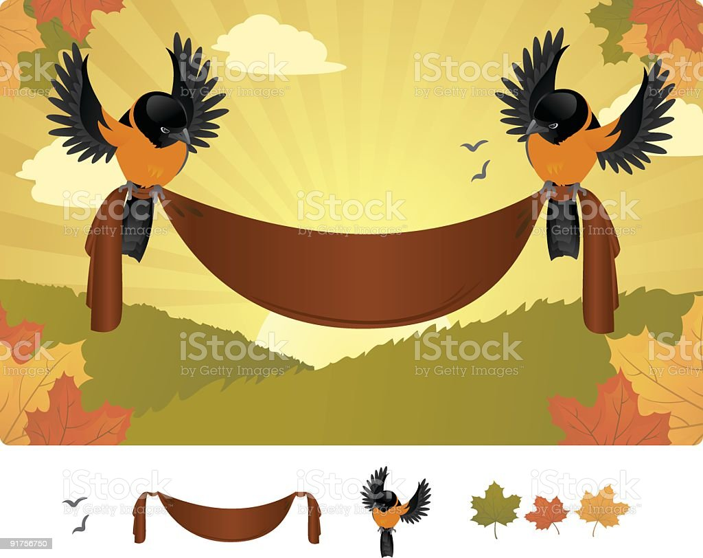 Fall Oriole Banner royalty-free stock vector art
