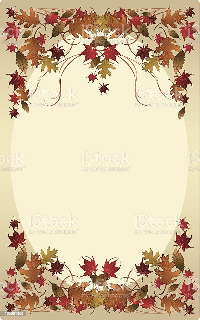 Fall oval frame background royalty-free stock vector art