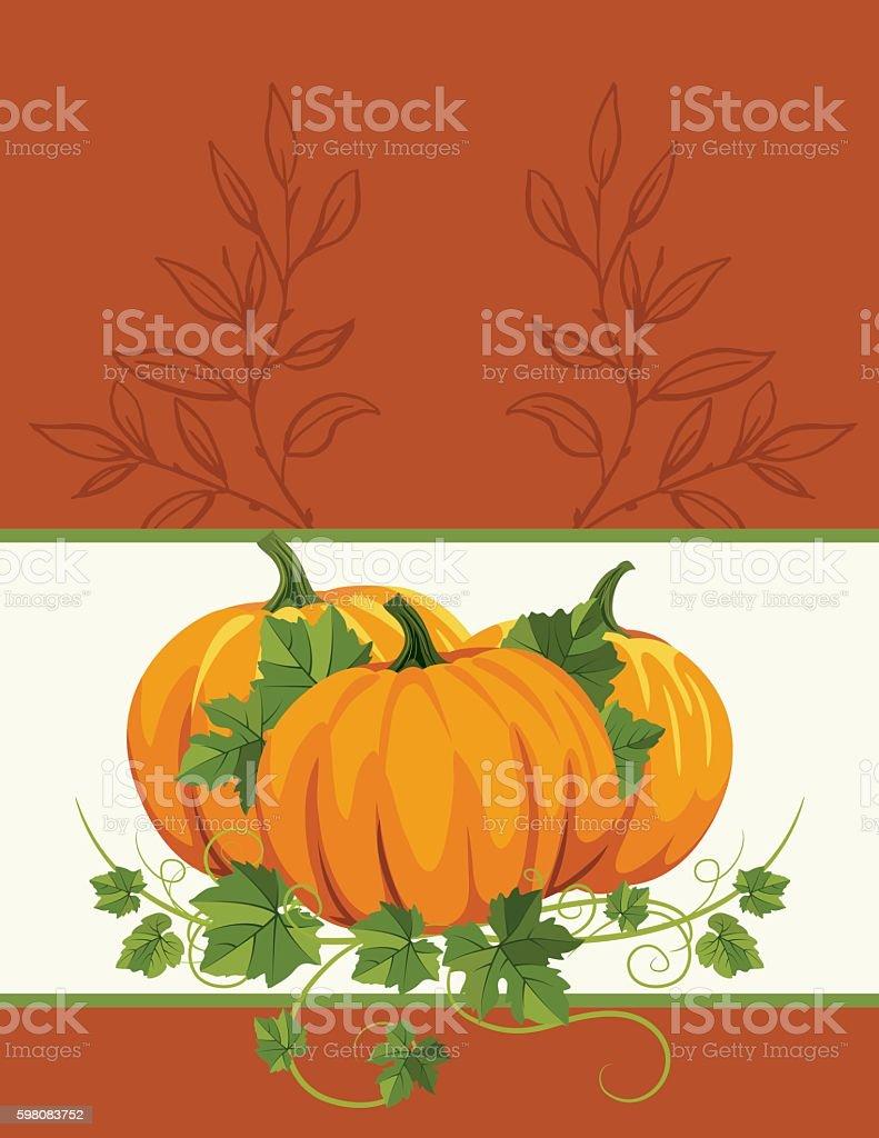 Fall Pumpkins Background Template vector art illustration