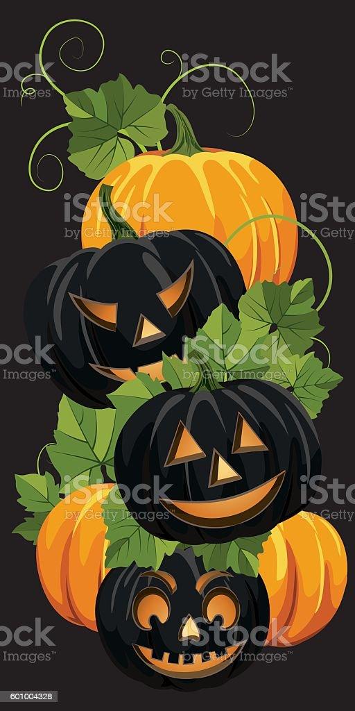 Fall Pumpkins On White Background vector art illustration