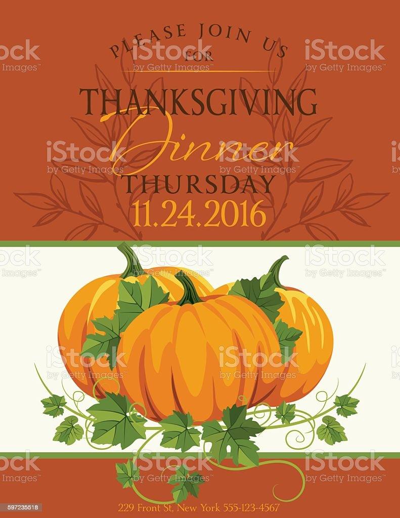 Fall Pumpkins Thanksgiving Dinner Invitation Template vector art illustration