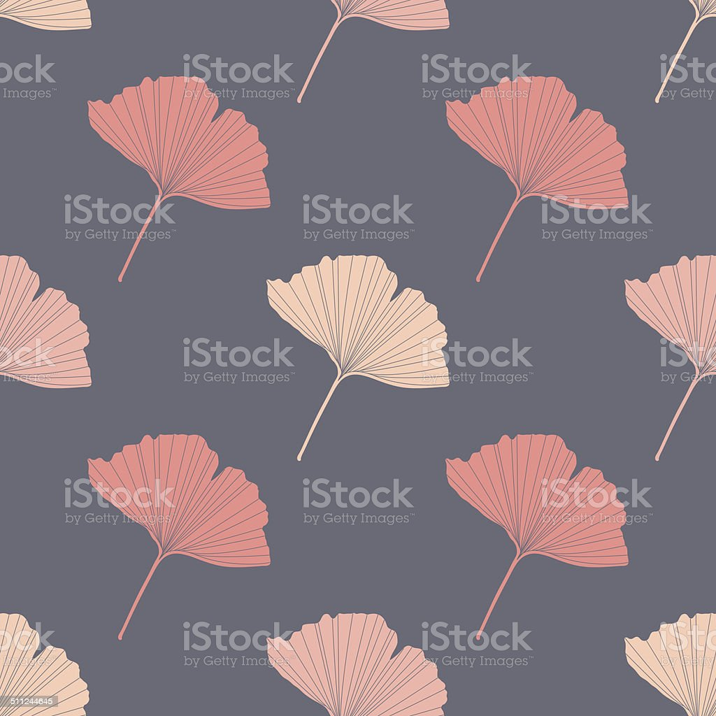Fall seamless vector background with colorful ginkgo leaves vector art illustration