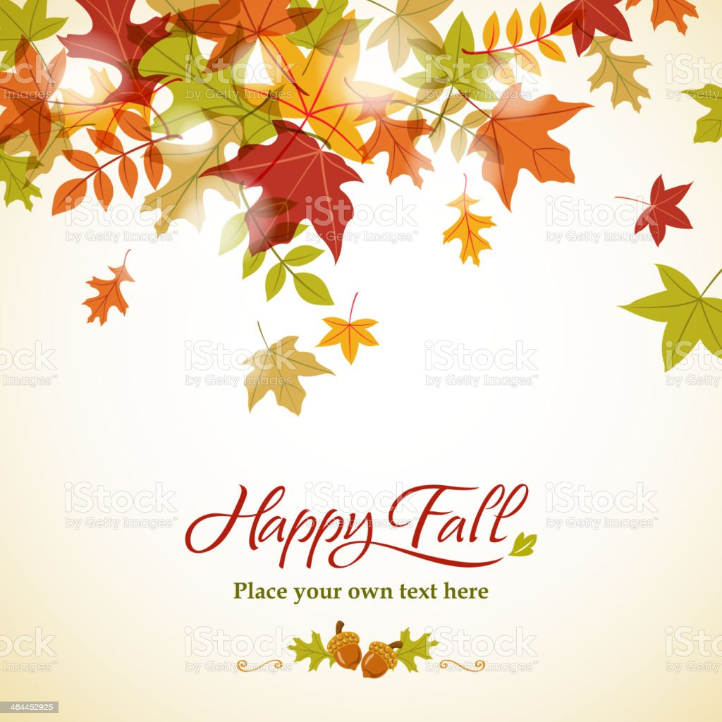 A fall themed background with colored leaves on top royalty-free stock vector art