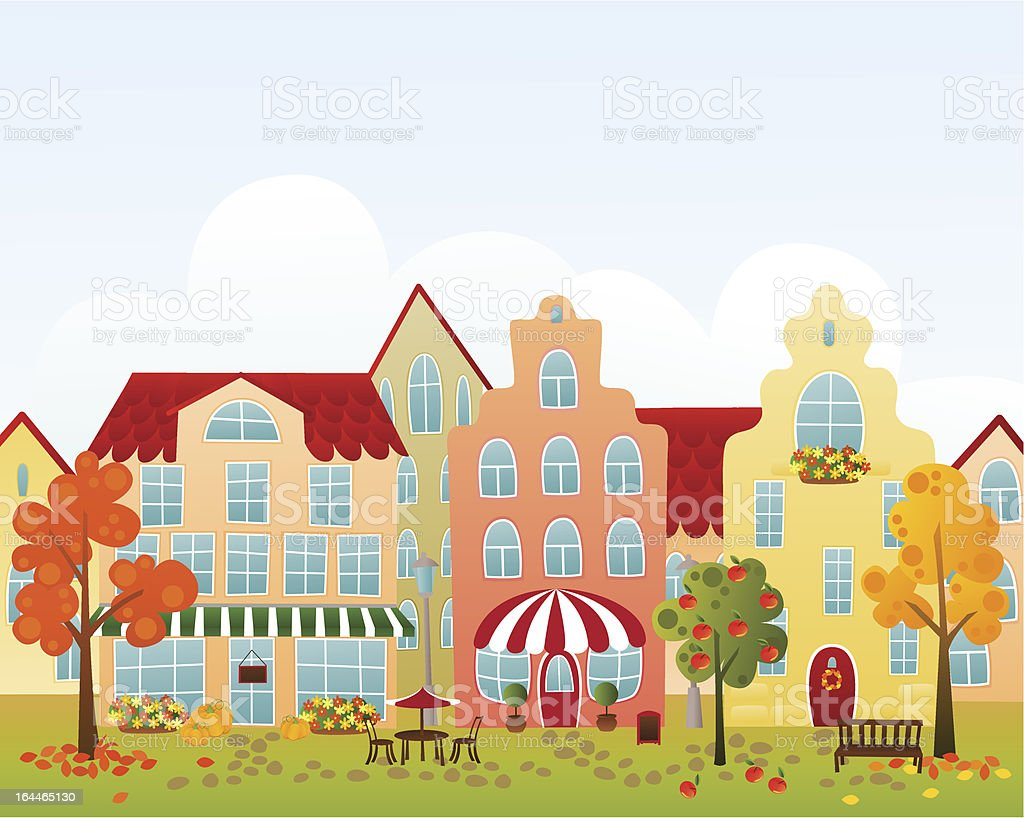 Fall town street royalty-free stock vector art