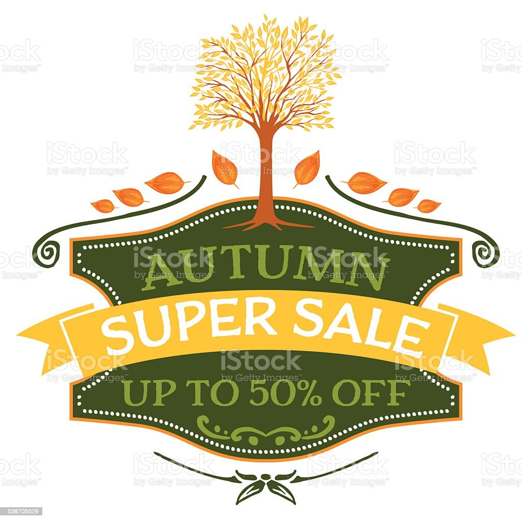 Fall Tree And Banner Design Element vector art illustration