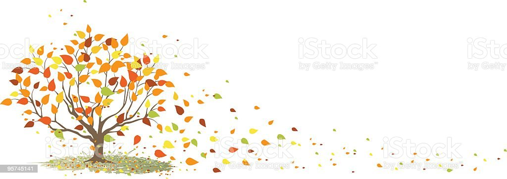 Fall Tree with It's Leaves Blowing in the Wind vector art illustration