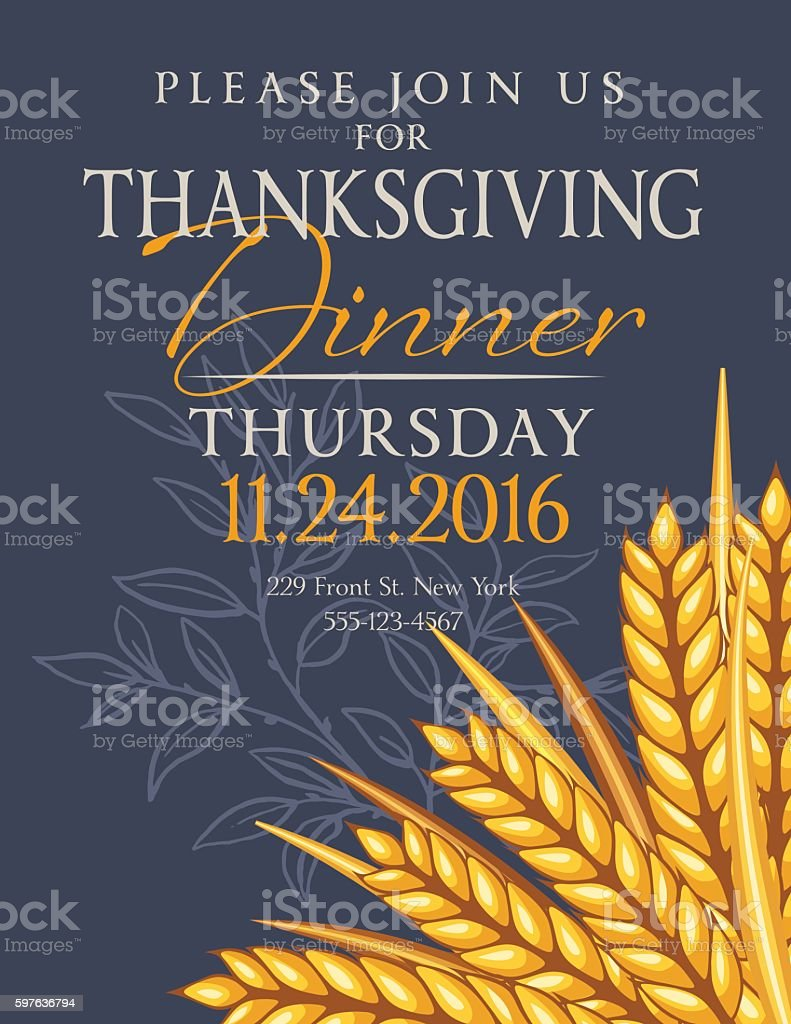 Fall Wheat Thanksgiving Dinner Invitation Template vector art illustration