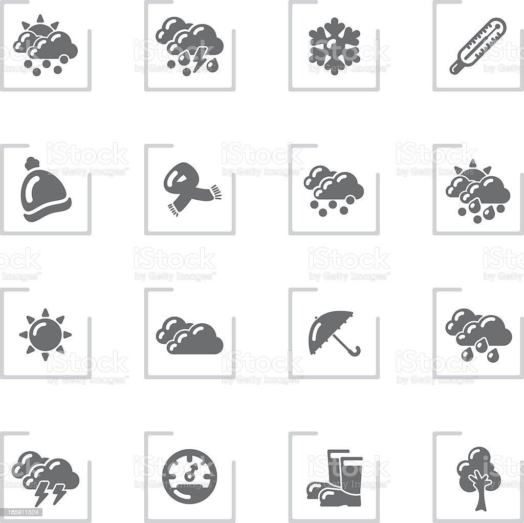Fall & Winter Icons   Framed Grey royalty-free stock vector art
