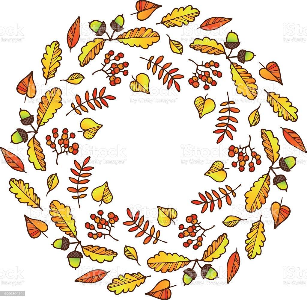 Fall wreath vector art illustration