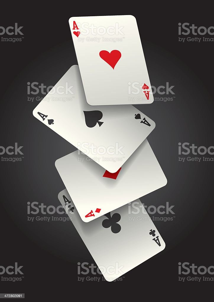 falling ace cards vector art illustration
