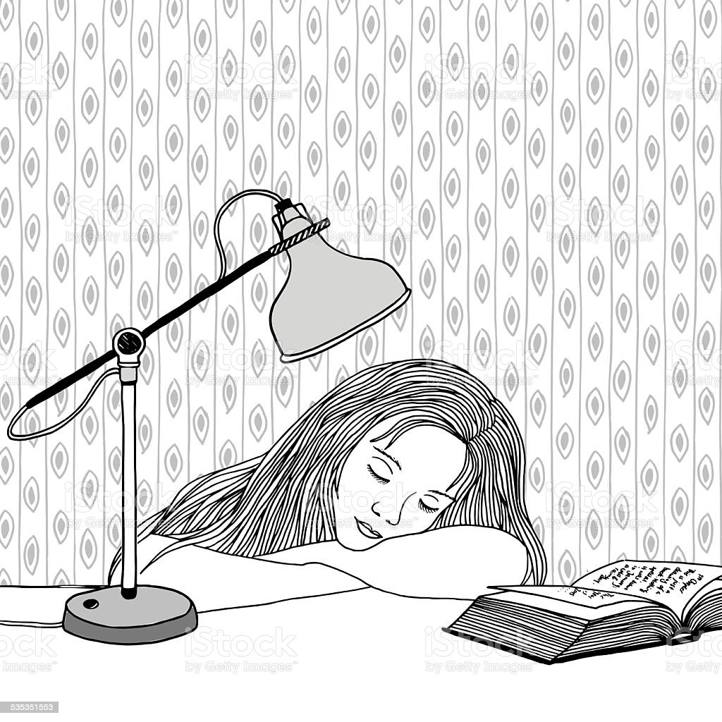 Falling asleep vector art illustration