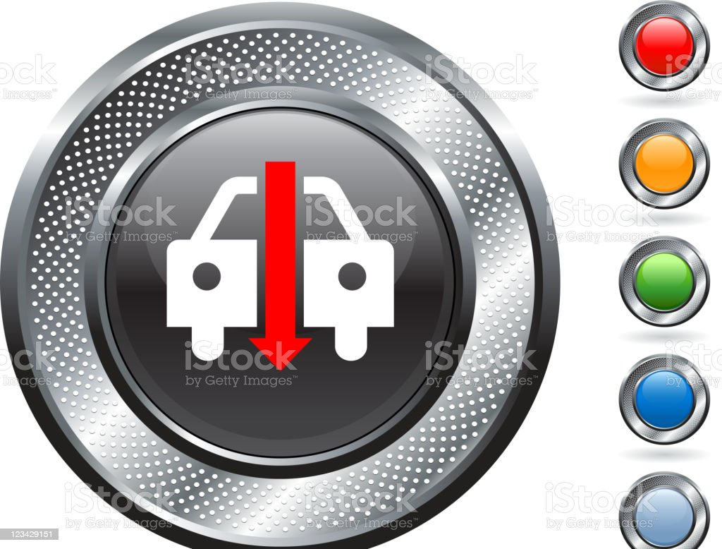 falling auto sales royalty free vector art on metallic button royalty-free stock vector art