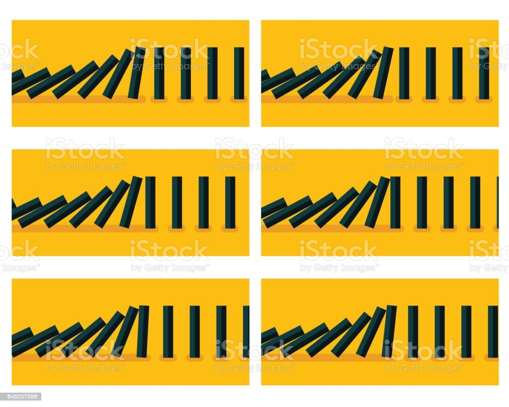 Falling black dominoes animation sprite with yellow background vector art illustration