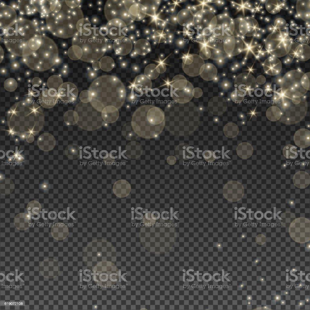 Falling Bokeh and Sparkles vector art illustration