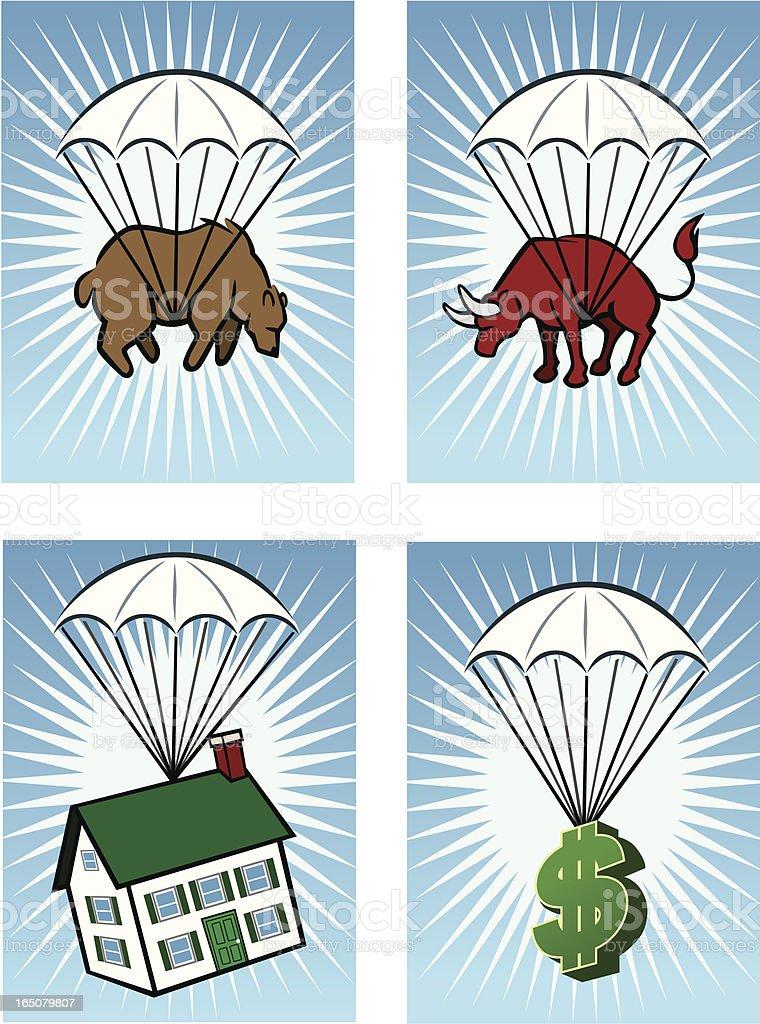 Falling Business Icons vector art illustration