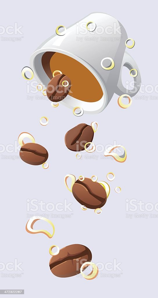 Falling coffee beans royalty-free stock vector art