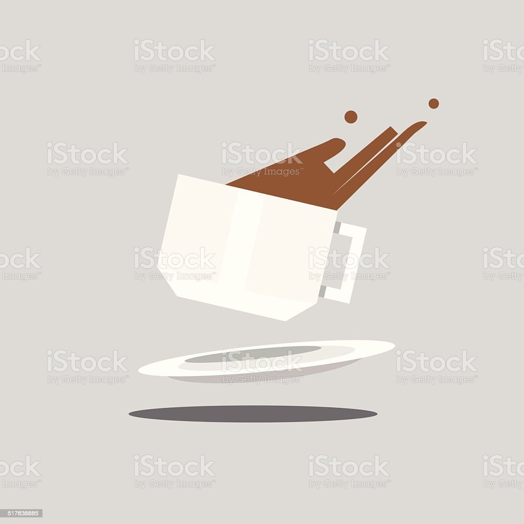 falling coffee cup - vector illustration vector art illustration