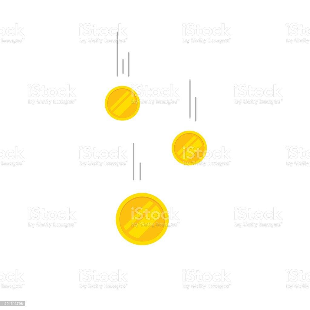 Falling coins money vector illustration, flying gold vector art illustration