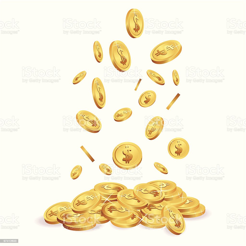 Falling Coins vector art illustration
