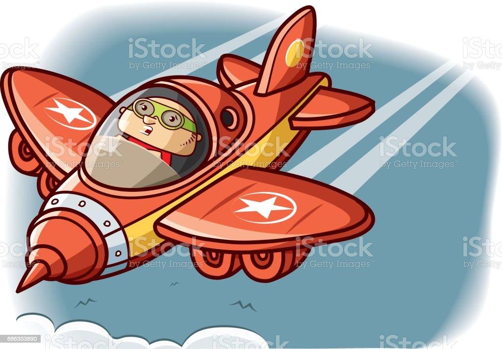 Falling down plane vector art illustration