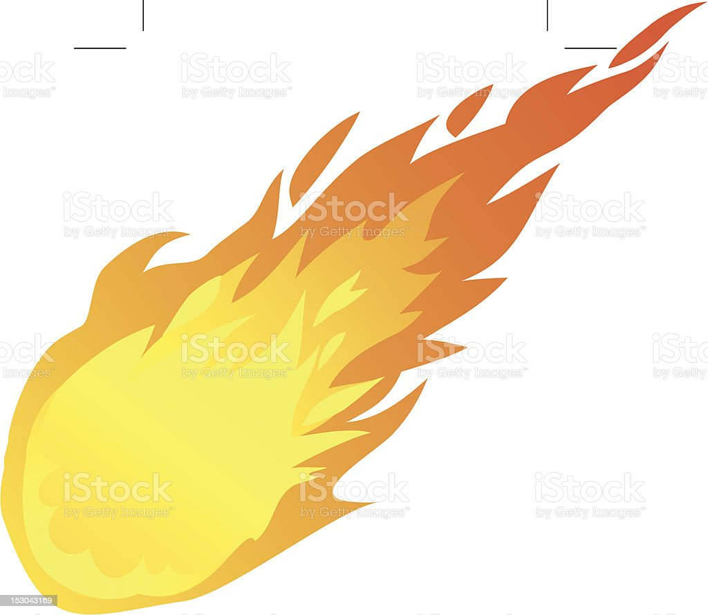 falling fire ball vector art illustration