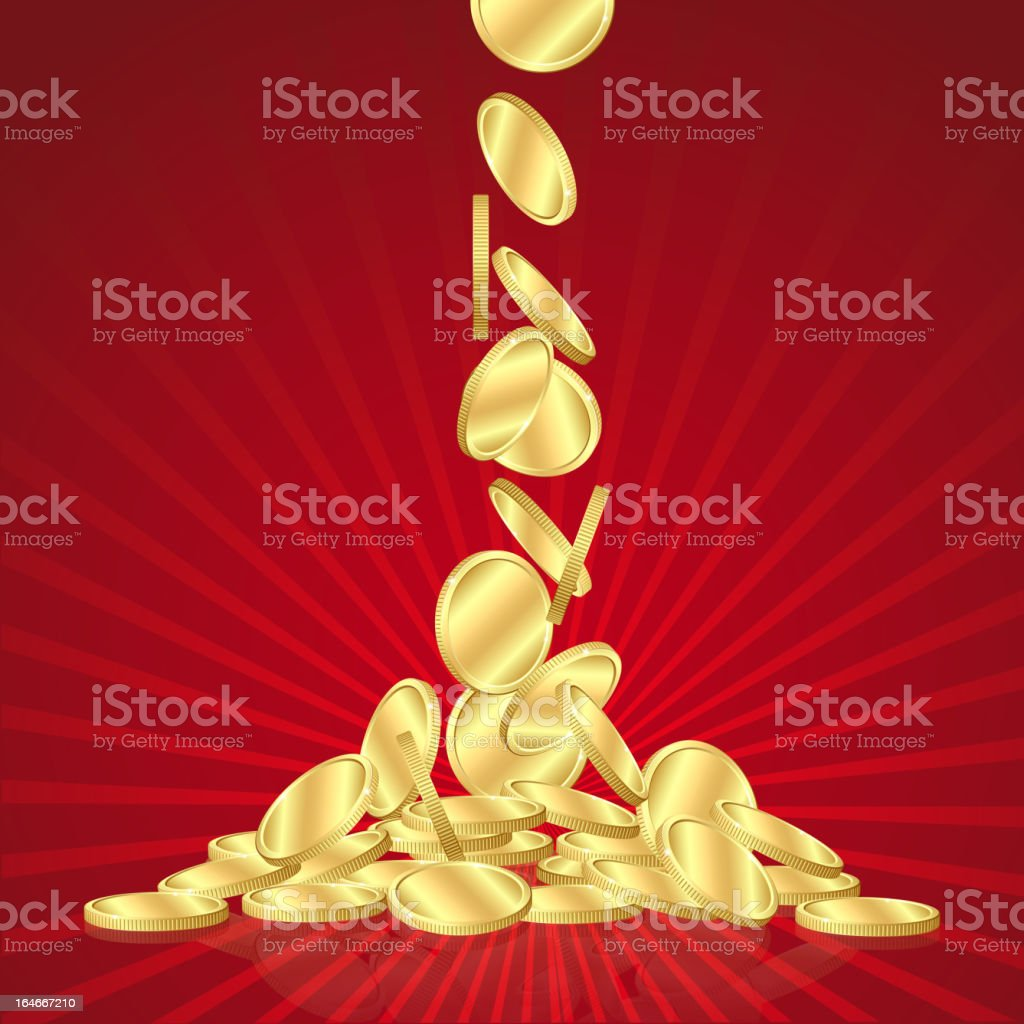 Falling gold coins royalty-free stock vector art