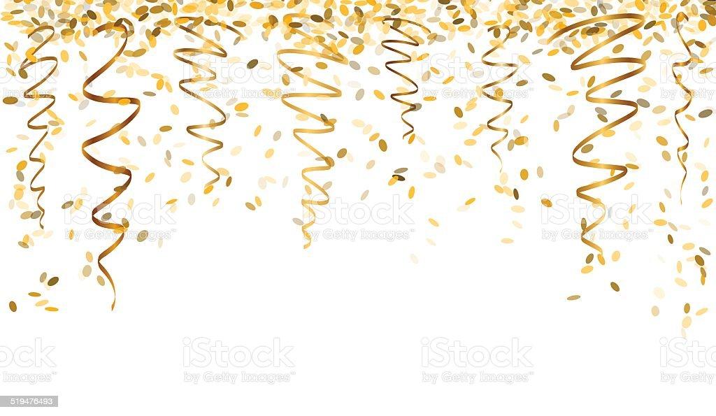 falling gold confetti vector art illustration