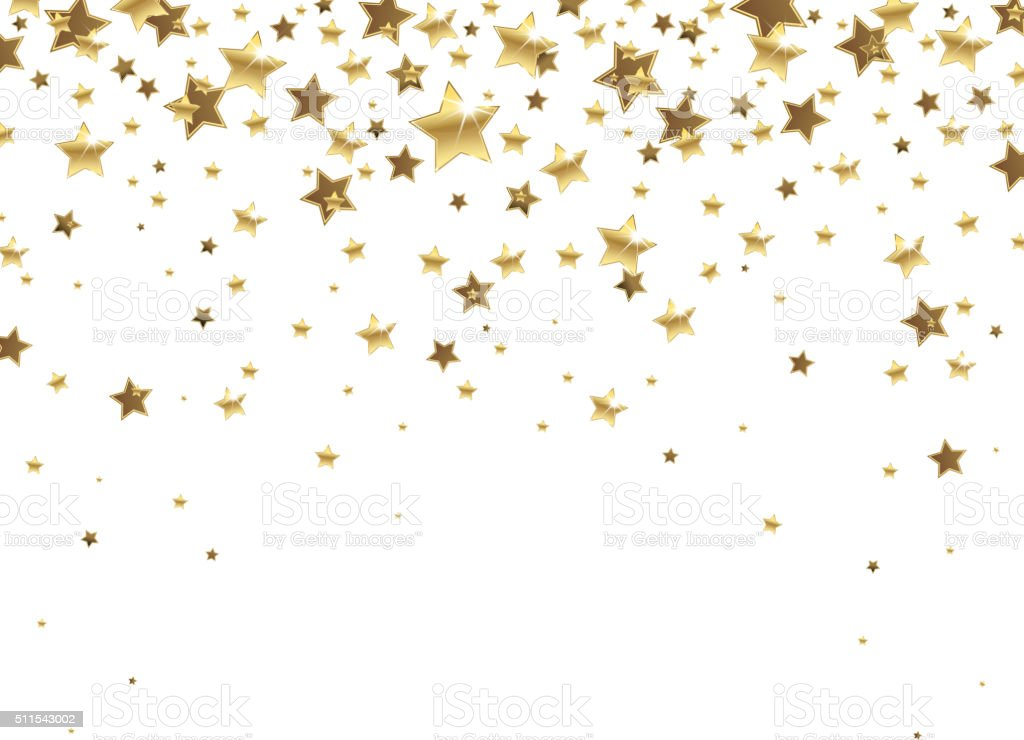 Falling Golden Stars vector art illustration