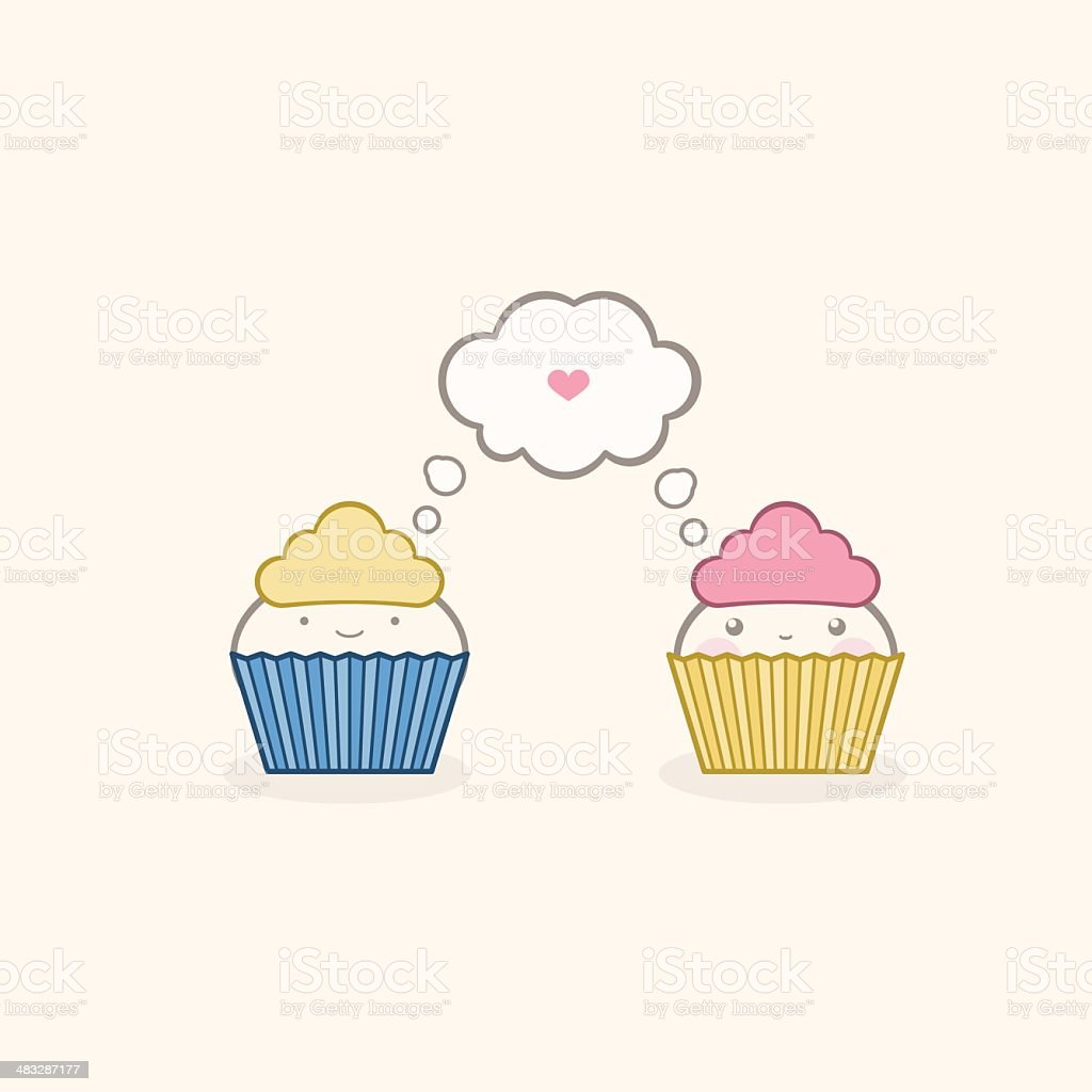 Falling in love at a pastry shop royalty-free stock vector art