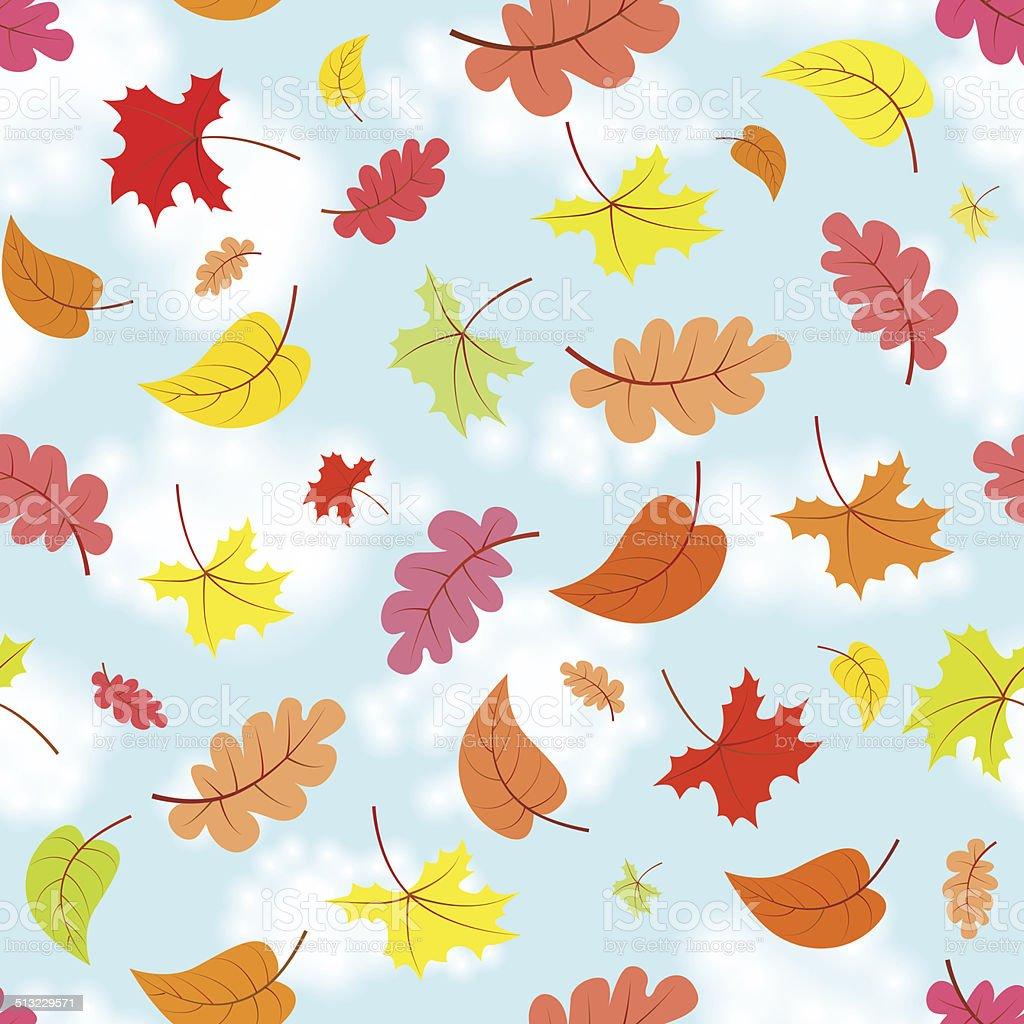 Falling leaves across the blue sky eamless pattern vector art illustration