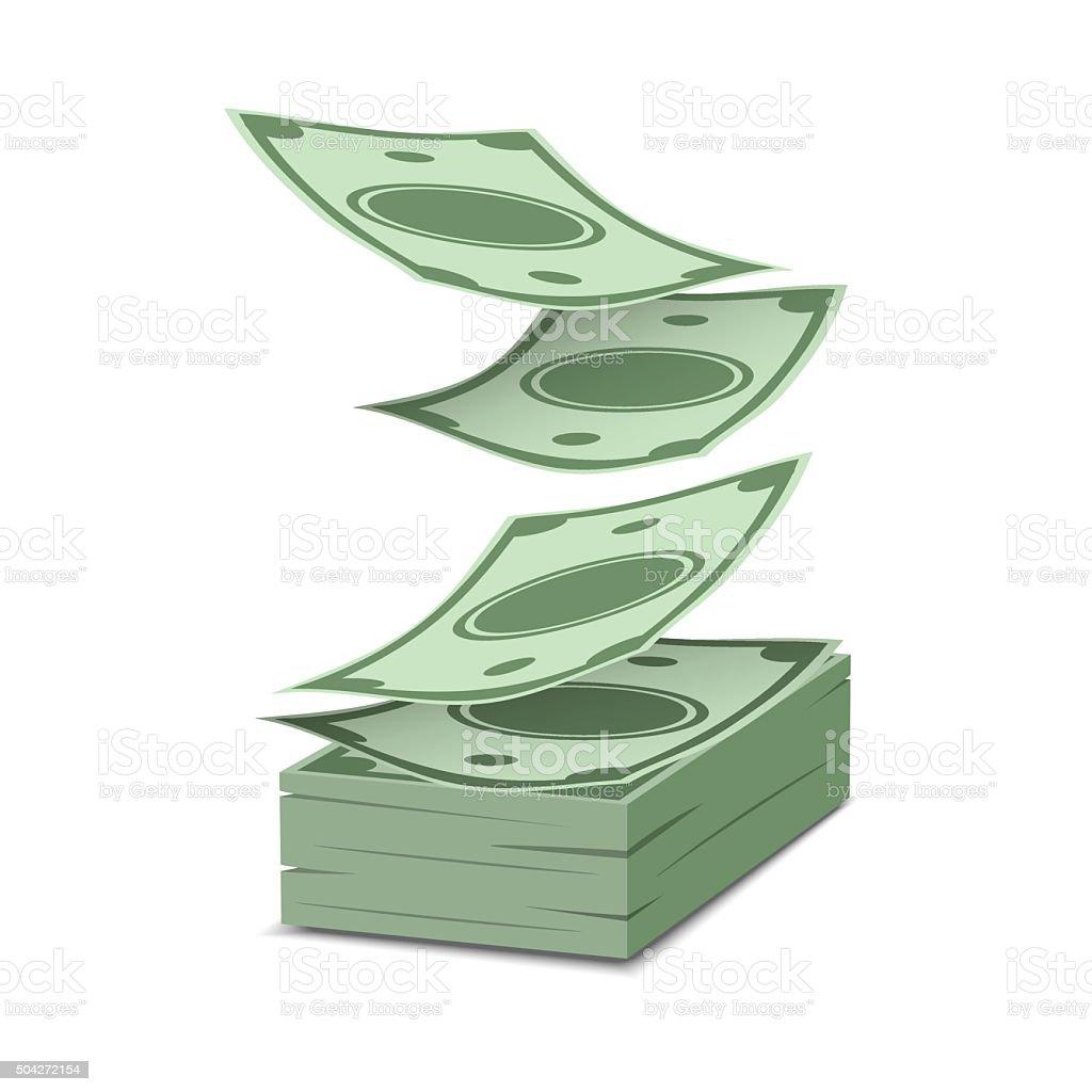 Falling money isolated vector art illustration